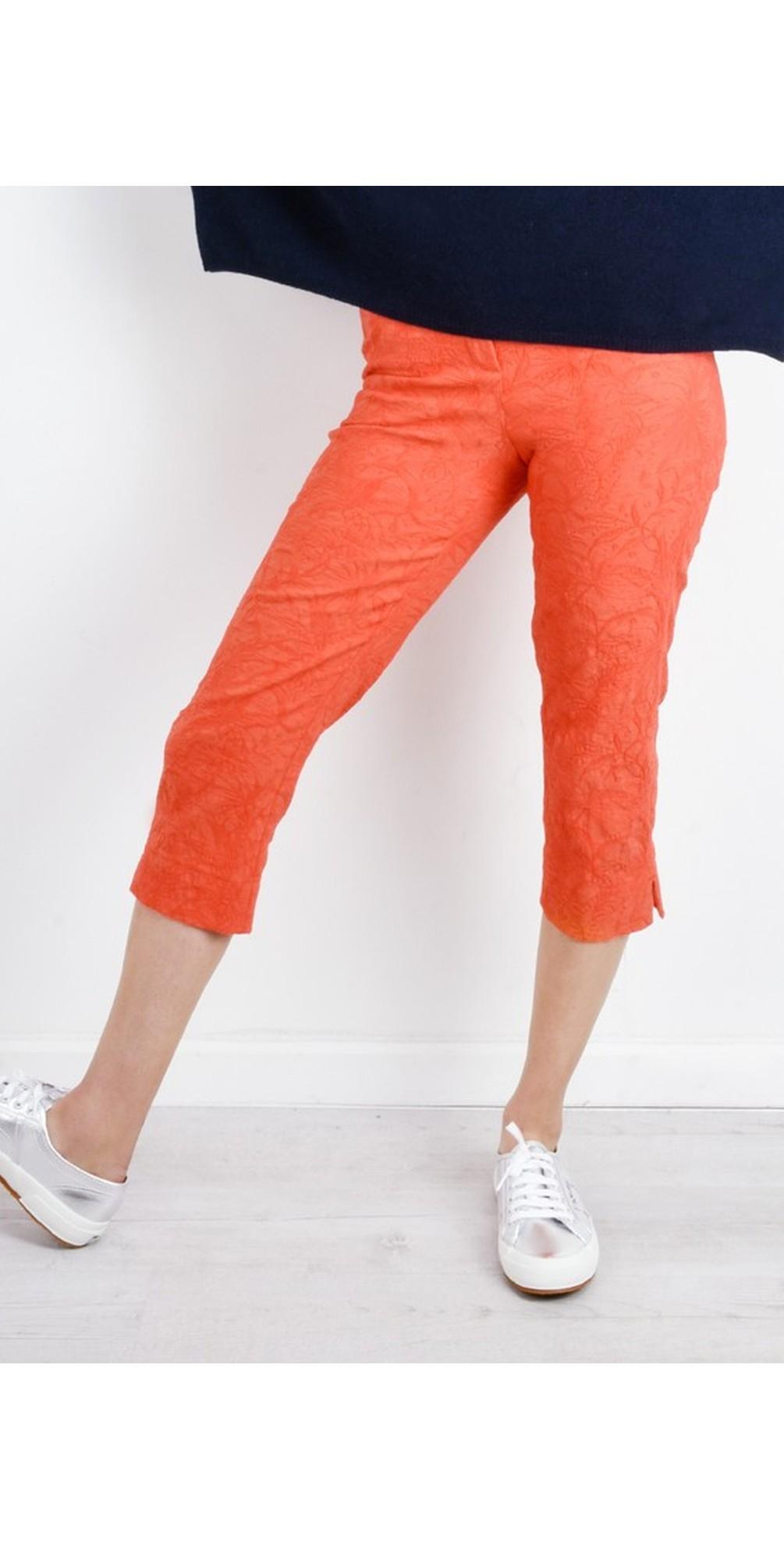 Marie 07 Orange Jacquard Crop Trouser main image