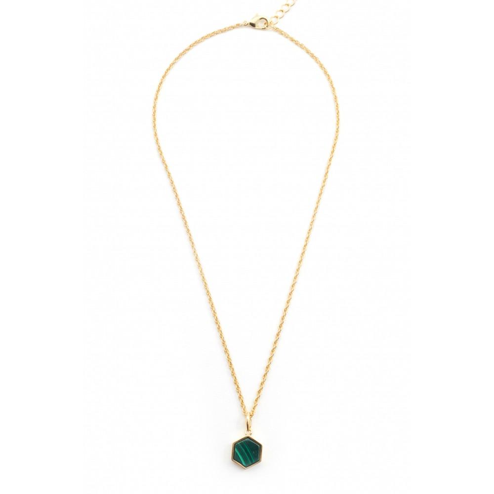 Bill Skinner Filigree Mini Hexagon Pendant Necklace Malachite Green