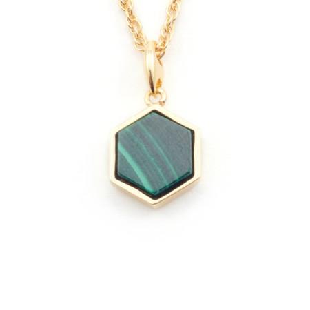 Bill Skinner Filigree Mini Hexagon Pendant Necklace - Green