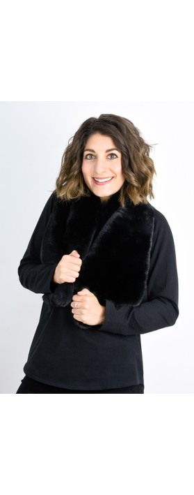 RINO AND PELLE Stip Super Soft Faux Fur Scarf Black