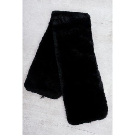 RINO AND PELLE Stip Super Soft Faux Fur Scarf - Black