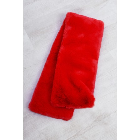 RINO AND PELLE Stip Super Soft Faux Fur Scarf - Red