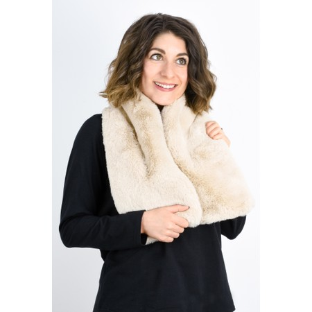 RINO AND PELLE Stip Super Soft Faux Fur Scarf - Beige