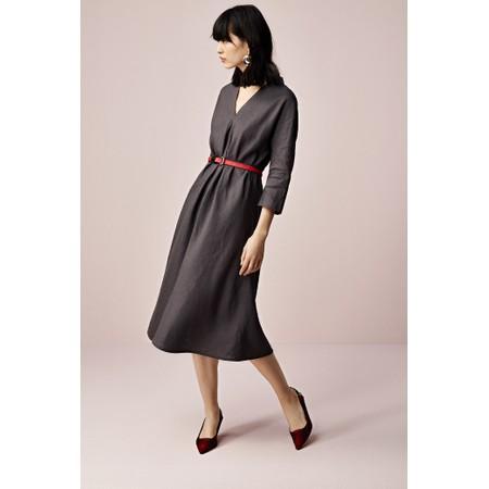 Sandwich Clothing Linen Front Pleat Dress - Grey