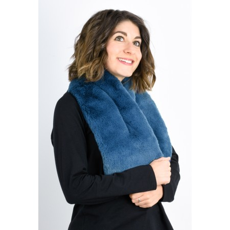 RINO AND PELLE Stip Super Soft Faux Fur Scarf - Blue