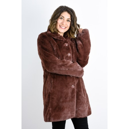 RINO AND PELLE Nonna Faux Fur Coat - Brown