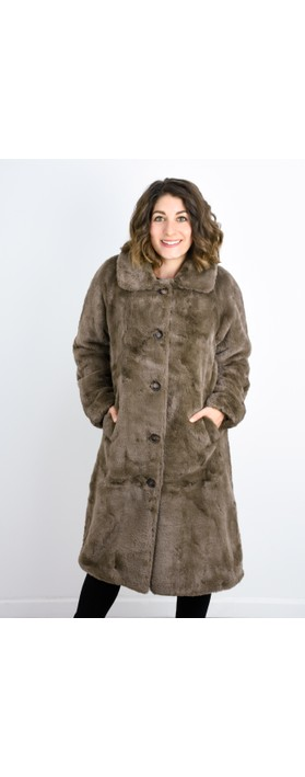 RINO AND PELLE Zonna Longline Faux Fur Coat Brown