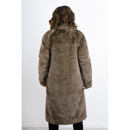RINO AND PELLE Zonna Longline Faux Fur Coat - Brown