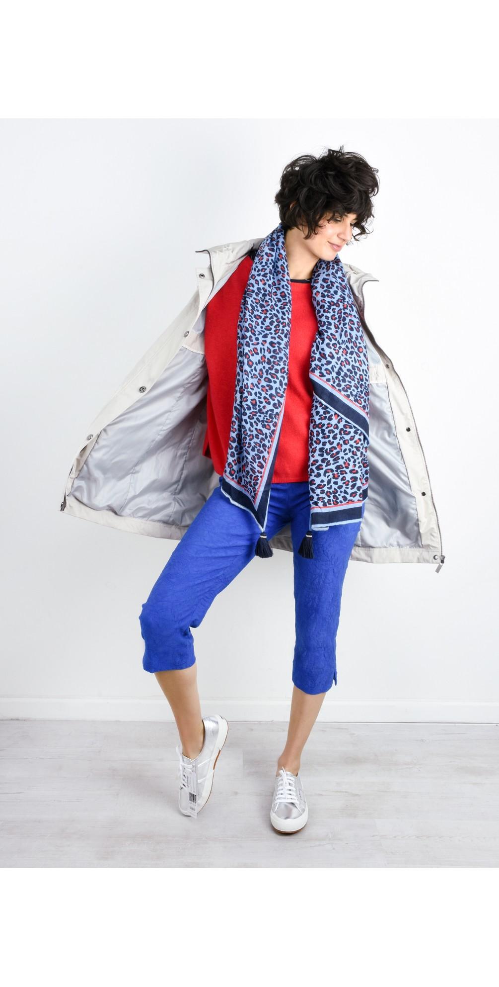 Marie 07 Cobalt Jacquard Crop Trouser main image