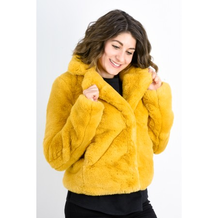 RINO AND PELLE Juna Faux Fur Easyfit Coat - Yellow