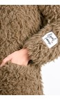 RINO AND PELLE Taupe Welda Shaggy Faux Fur Jacket