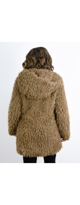 RINO AND PELLE Welda Shaggy Faux Fur Jacket Taupe