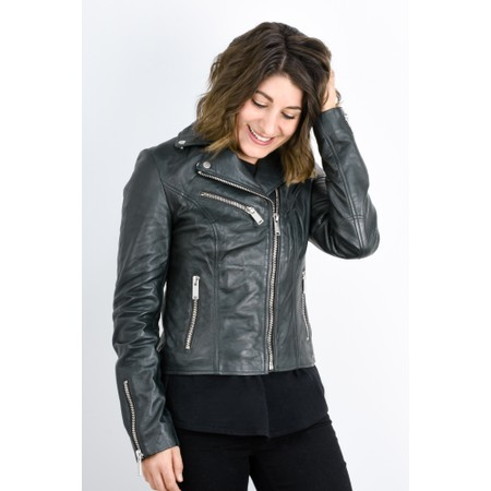 RINO AND PELLE Ghost Biker Style Leather Jacket - Green