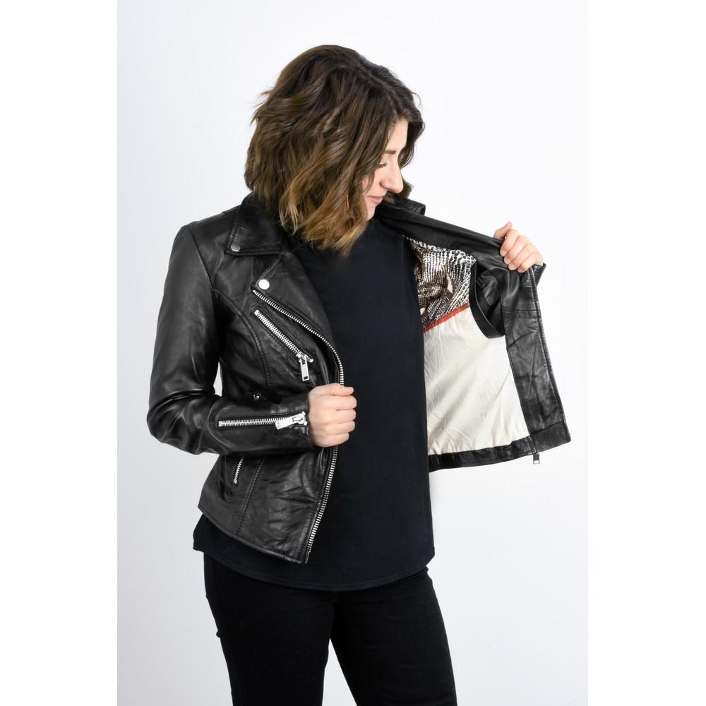 RINO AND PELLE Ghost Bugatti Biker Style Leather Jacket Black