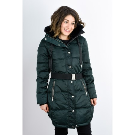 RINO AND PELLE Addison Faux Fur Collar Puffa Coat - Green