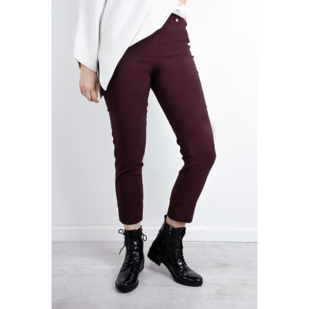 Robell  Bella 09 Aubergine Ankle Length Crop Cuff Trouser - Purple