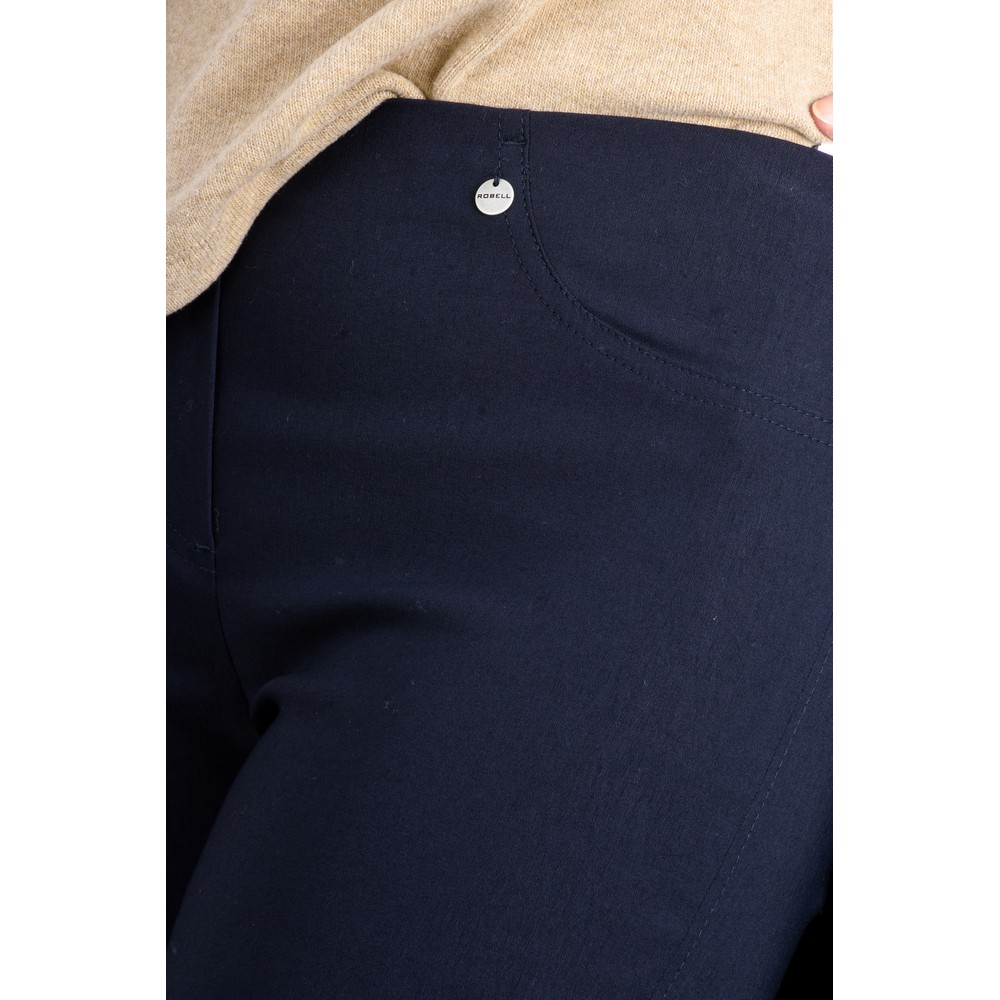 Robell Bella 09 Navy Ankle Length Crop Cuff Trouser Navy 69