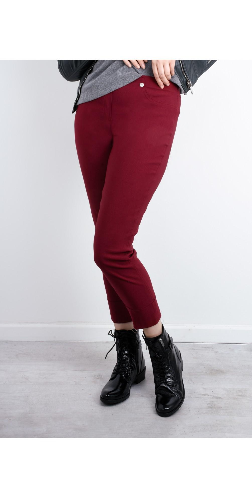 Bella 09 Dark Red Ankle Length Crop Cuff Trouser main image