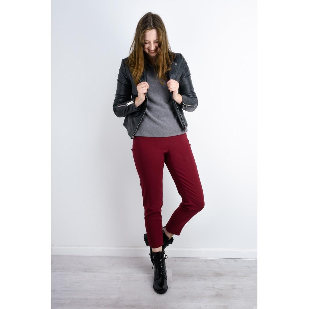 Robell  Bella 09 Dark Red Ankle Length Crop Cuff Trouser Dark Red 47