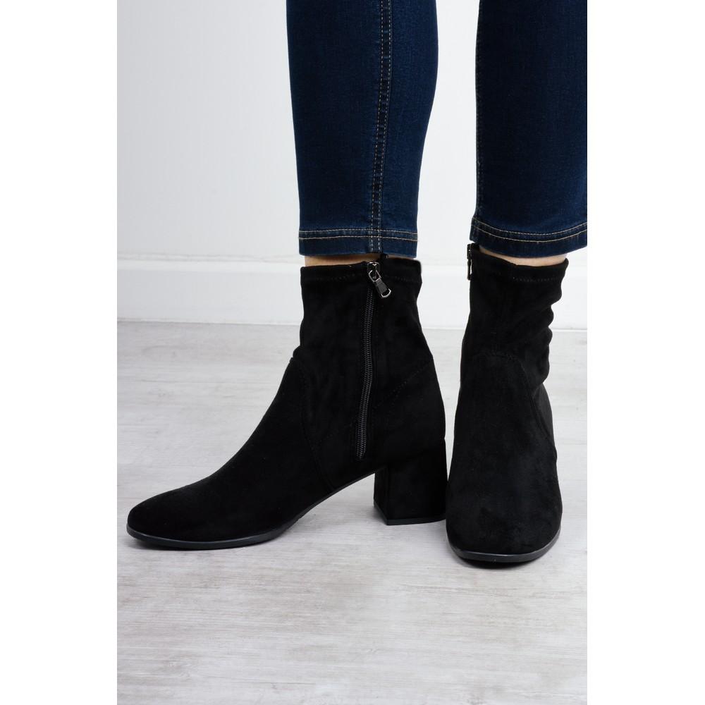 Tamaris Nadda Stretch Ankle Boot Block Heel Black