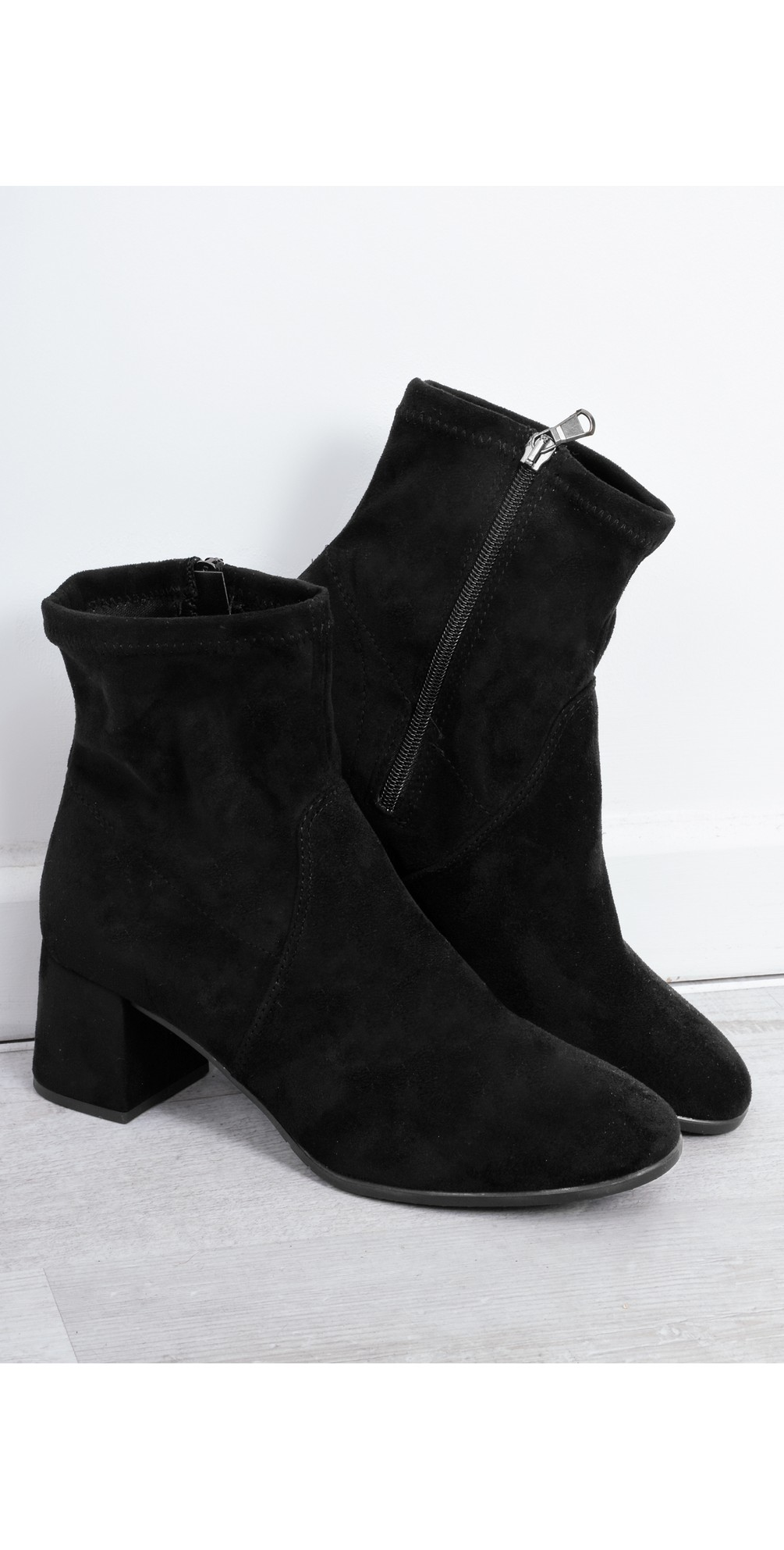 Tamaris Nadda Stretch Ankle Boot Block Heel in Black