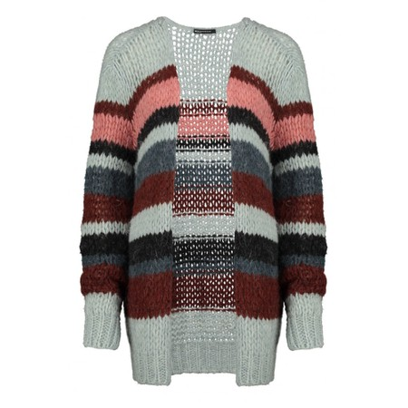 Expresso Jasmin Multi Stripe Cardigan - Grey