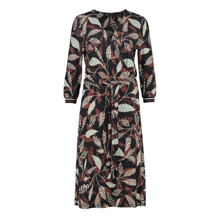 Expresso Janine Leaf Print Wrap Dress - Black