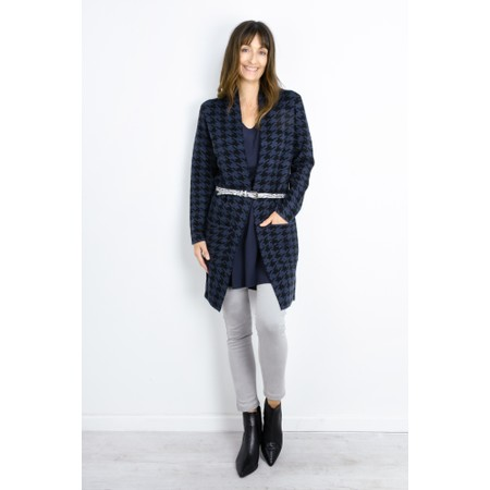 RINO AND PELLE Frutti Houndstooth Longline Cardigan - Blue