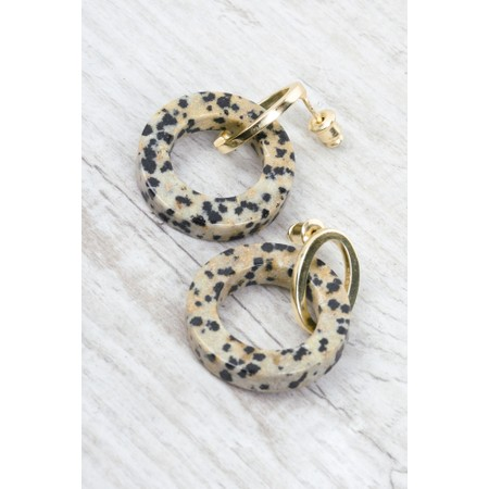 Tutti&Co Jasper Stone Earrings  - Gold