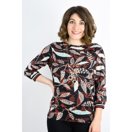 Expresso Jacinta Leaf Print Top - Black