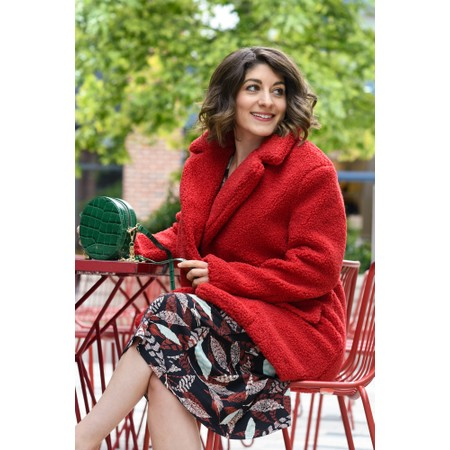 RINO AND PELLE Pien Teddy Oversized Coat - Red