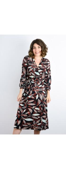 Expresso Janine Leaf Print Wrap Dress Black