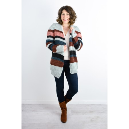 Expresso Jasmin Multi Stripe Cardigan - Grey