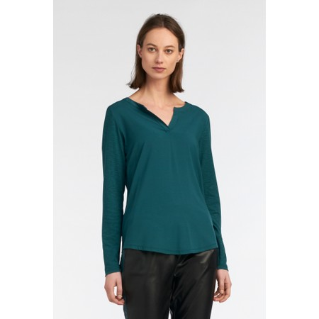 Sandwich Clothing Contrast Sleeve Long Sleeve Top - Green