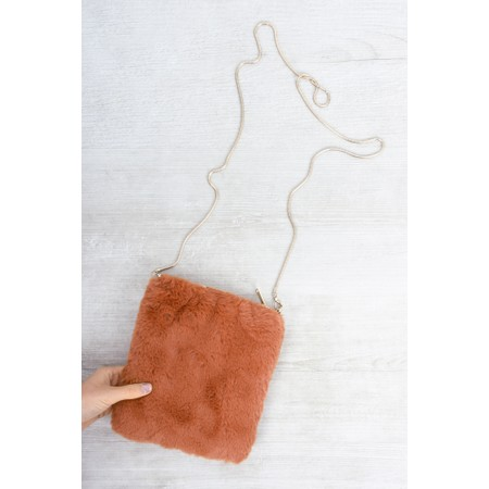 RINO AND PELLE Doxy Cross Body Faux Fur Bag - Red