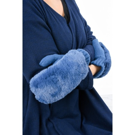 RINO AND PELLE Oxo Faux Fur Mittens - Blue