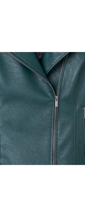 Sandwich Clothing Faux Leather Biker Jacket Emerald