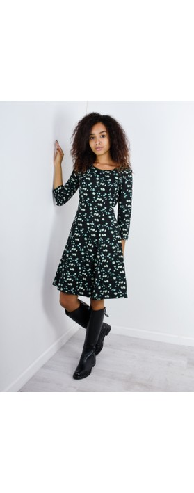 Sandwich Clothing Abstract Print Fit and Flare Dress Black