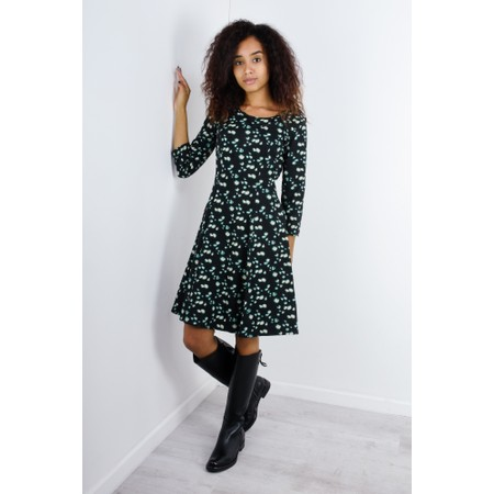 Sandwich Clothing Abstract Print Fit and Flare Dress - Black