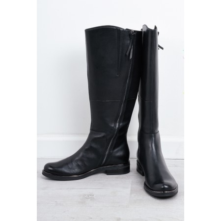 Caprice Footwear Gisela Leather Boot With Side Zip  - Black