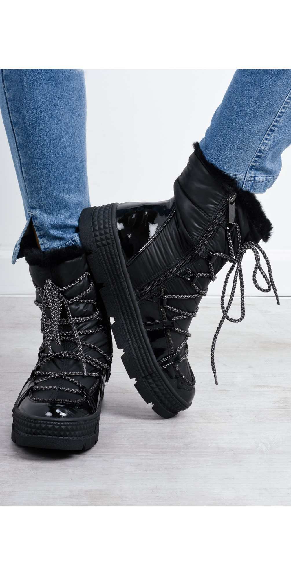 Tamaris Franny Lace Front Nordic Boot in Black
