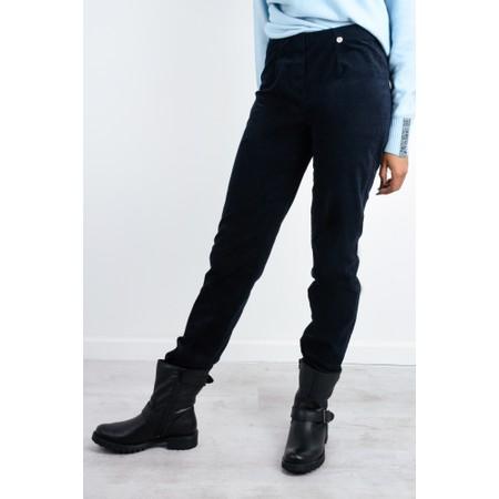 Robell  Marie Stretch Cotton Velvet Slim Full Length Trouser - Blue