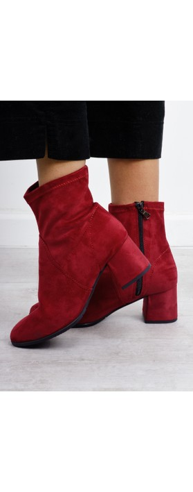 Nadda Stretch Ankle Boot Block Heel Lipstick