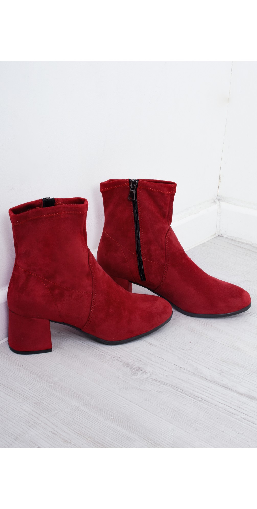 Tamaris Nadda Stretch Ankle Boot Block Heel in Lipstick