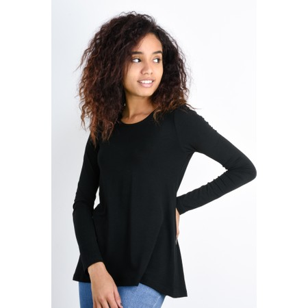 BY BASICS Heidi A-Shape Round Neck Bamboo Jersey Top - Black