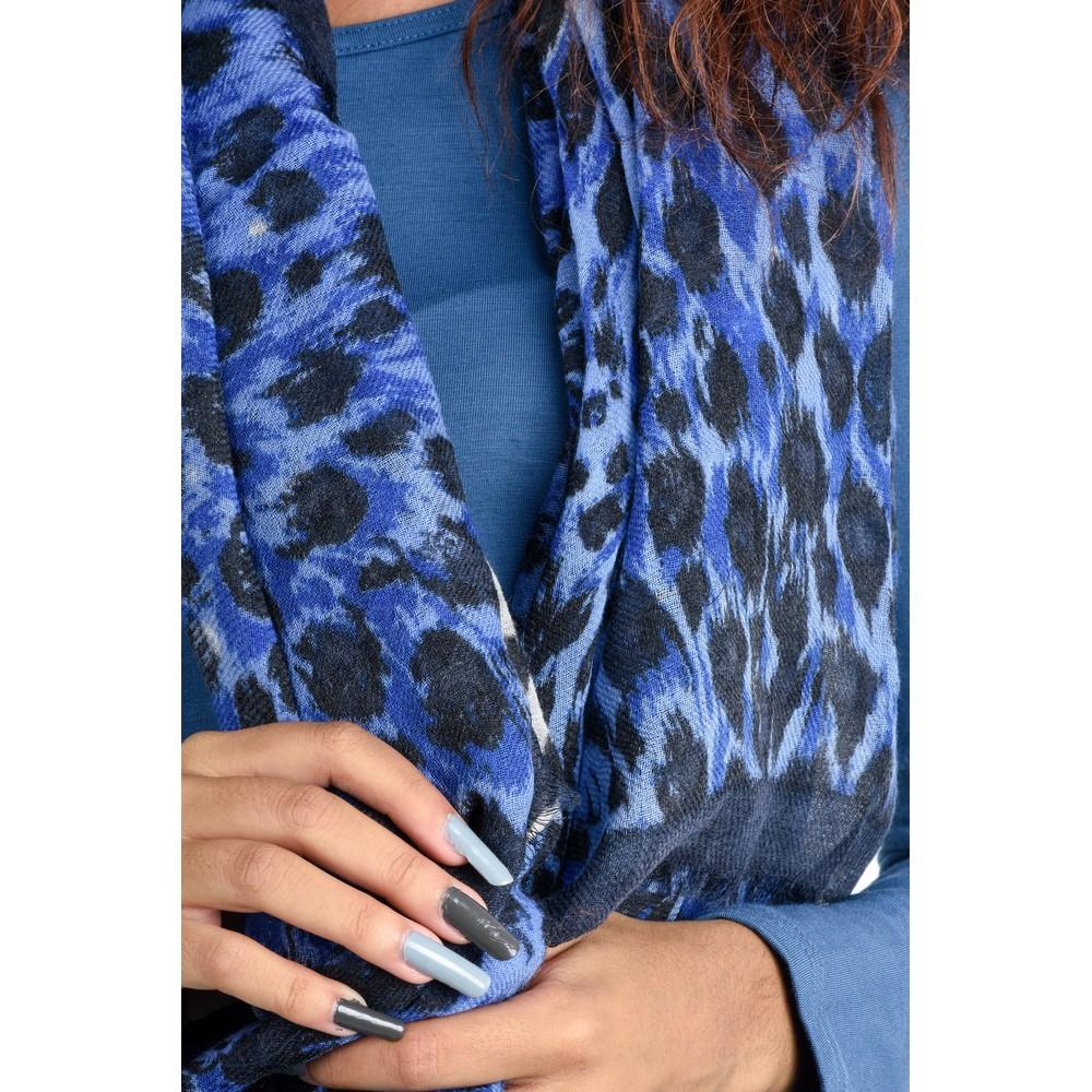 BeckSondergaard Coyle Leopard Print Scarf Blue