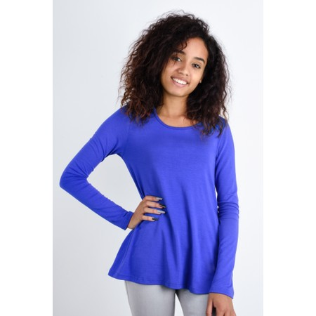 BY BASICS Heidi A-Shape Round Neck Bamboo Jersey Top - Blue