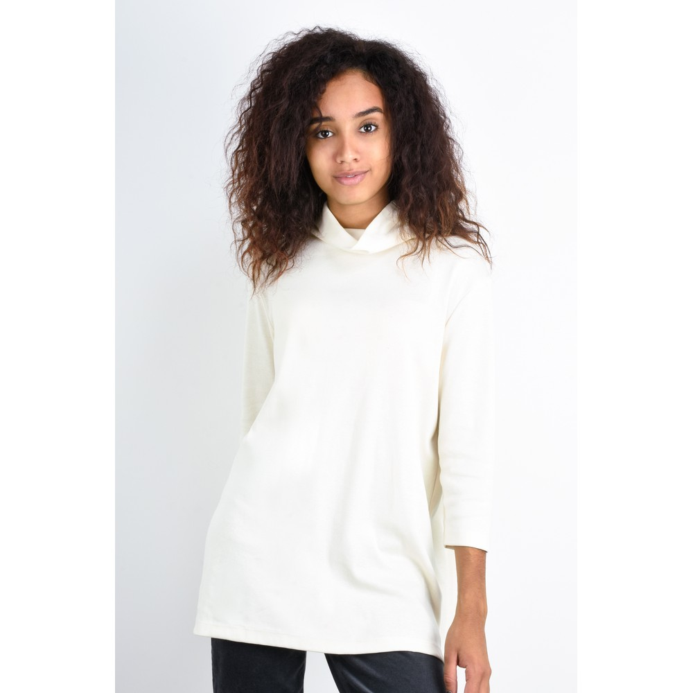 BY BASICS Clara Easyfit Organic Cotton Roll Neck Top Off White 0