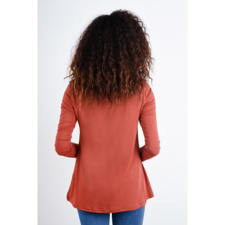 BY BASICS Heidi A-Shape Round Neck Bamboo Jersey Top - Orange
