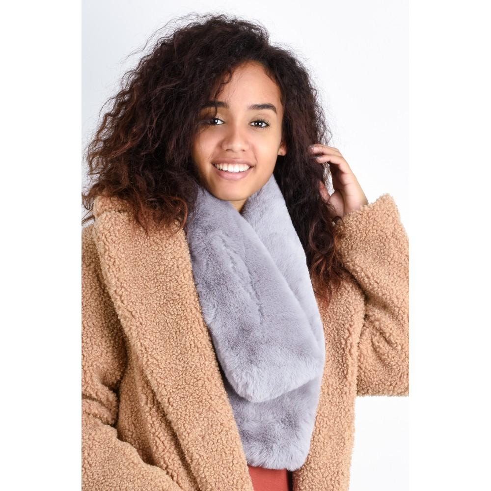 Gemini Label Accessories Nadia Supersoft Faux Fur Scarf Grey